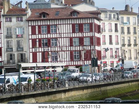 Pyrenees, France - August 25, 2011: Half-timbered House In Village In French Pyrenees