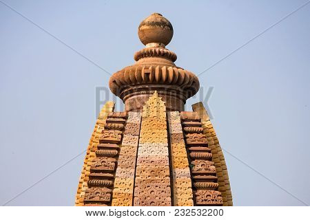 Beautiful View Of Spire Of Historical Lakshmana Temple In Khajuraho, India