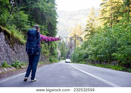 Hiker Girl With Blue Backpack With Hand Thumb Up Hitchhiking By The Side Of The Road. Young Traveler