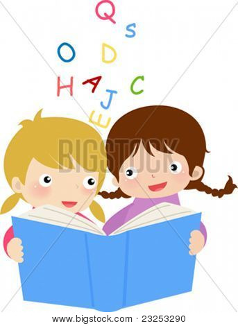 Girls  reading the book