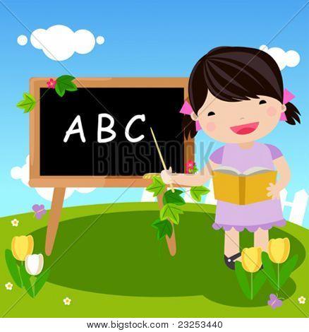 kid and blackboard