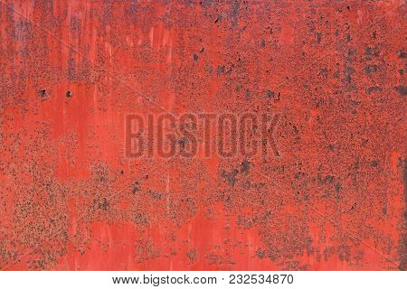 Shabby Red Paint, Pattern. Old Wall Of Building, Shuffled Over Time. Grunge Style. Template Backgrou