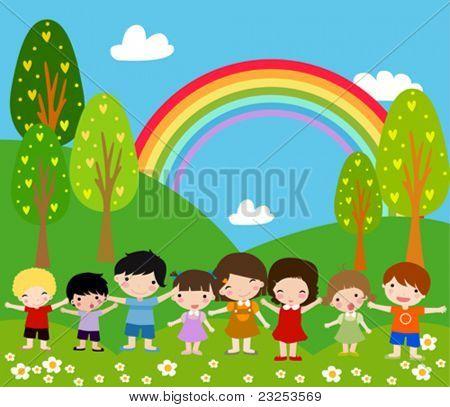 Children and rainbow - Art Vector Illustration.