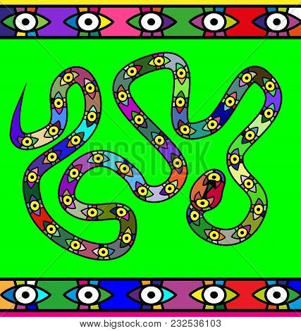 Abstract Green Colored Background Image Of Snake Consisting Of Lines And Eyes