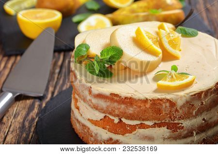 Pear Cake And Ingredients On Table, Close-up