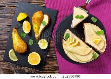 Pear Sponge Cake Cut In Slices
