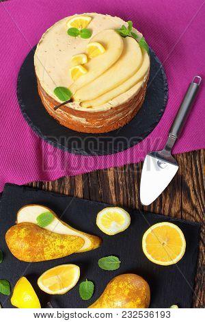 Tasty Pear Sponge Cake On Plate
