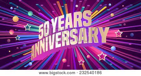 50 Years Anniversary Vector Icon, Logo. Graphic Design Element For 50th Anniversary Birthday Greetin