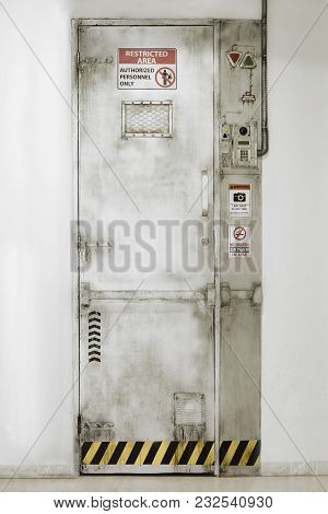 Restricted Area Door. Authorized Personnel. Security Entrance. Vertical
