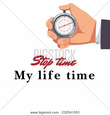 Male Hand Holding Stopwatch Background Vector Image