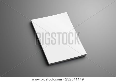 Blank Closed A4, (a5) Brochure With Soft Realistic Shadows Isolated On Gray Background.