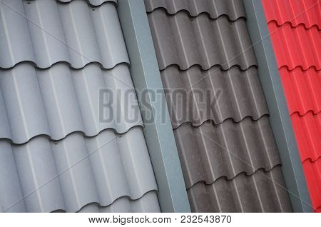 Roof Templates From Metal Tile. Several Roof Cover Pieces