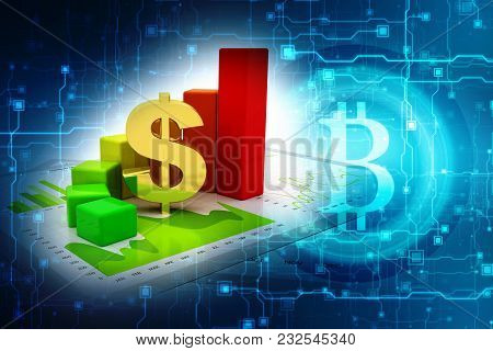 Business Graph With Dollar Sign. Dollar Growth Concept. 3d Rendering