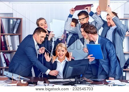 Business people office. Team people are unhappy with their leader. Intern manager does not cope with his duties. Crowd in stress. New employee in team.