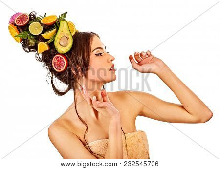 Hair and facial mask from fresh fruits for woman concept. Girl care her skin homemade by dint of organic therapy on isolated. Diet without restrictions.