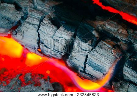 Colorful Fire Flame, Burning Wood At The Fireplace. Firewood Log In The Fire Chimney, Closeup.