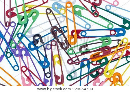 many colorful safety pin