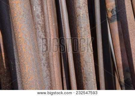 Rust On Iron Rods Left Over For A Long Time. Rust On Steel.