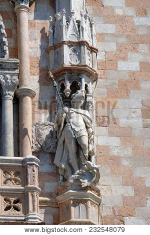 VENICE, ITALY - MAY 28: Statue of Saint George, detail of the Doge Palace, St. Mark Square, Venice, Italy, UNESCO World Heritage Sites on May 28, 2017.