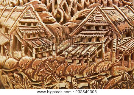 Kuching, Malaysia - August 27, 2009: Traditional Tribal Motives Decoration At The Ceramics Souvenirs