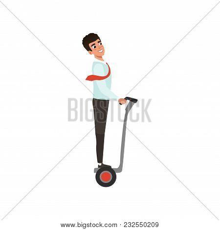 Cartoon Business Man Character Riding On Self-balancing Electric Scooter To Work. Modern Transportat