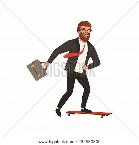 Cheerful Businessman Riding Fast On Skateboard. Cartoon Character Of Young Bearded Guy In Black Form