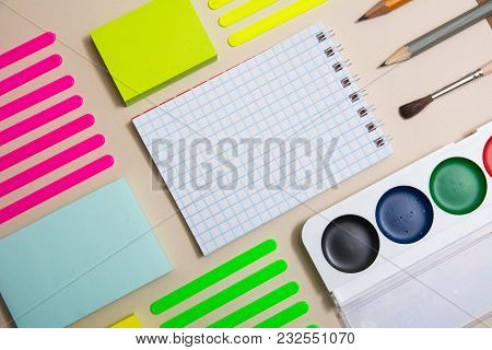 Stationery With A Notebook Diagonally