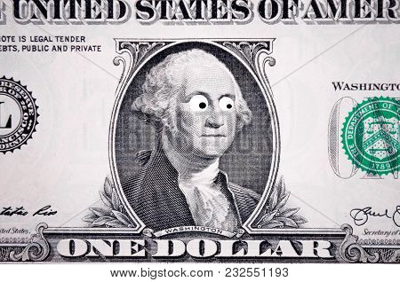 Close-up Of One Dollar Bill. One Dollar Background