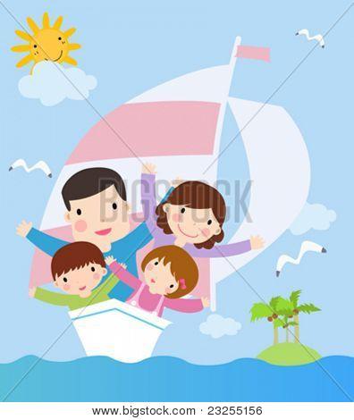 family in ship. cartoon vector illustration