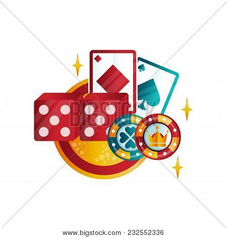 Retro Emblem For Casino Or Poker Club With Playing Cards, Chips And Dice. Games For Money. Colorful