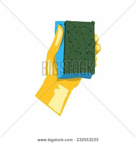 Colorful Icon Of Human Hand In Yellow Protective Glove Holding Sponge For Dishwashing. Kitchen Tool