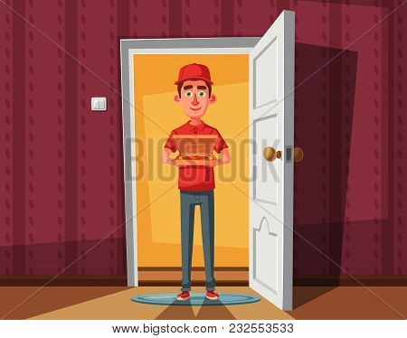 Pizza Delivery Guy Handing Pizza Box On Doorway. Cartoon Vector Illustration. Delivery Order. Open D