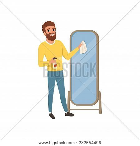 Young Guy Cleaning Big Bathroom Mirror With Rag And Spraying Detergent. Man Doing Housework. Cartoon