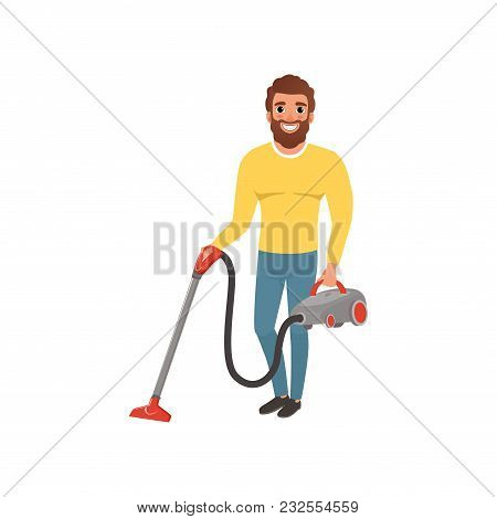 Cartoon Character Of Smiling Man With Vacuum Cleaner. House Husband Cleaning Floor. Young Bearded Gu