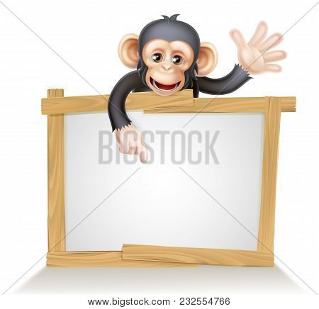 Cute Cartoon Chimp Monkey Like Character Mascot Peeking Above A Sign, Pointing At It And Waving