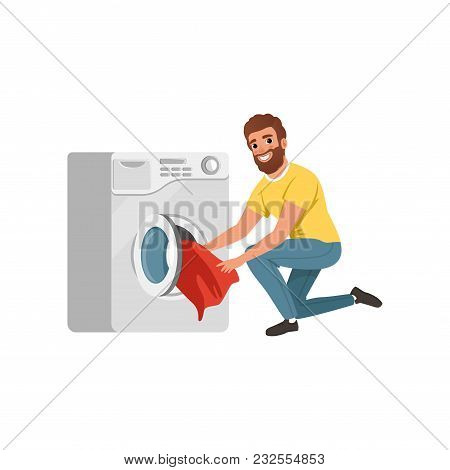 Cheerful Bearded Man Putting Dirty Clothes Into Washing Machine. Cartoon Character Of House Husband.