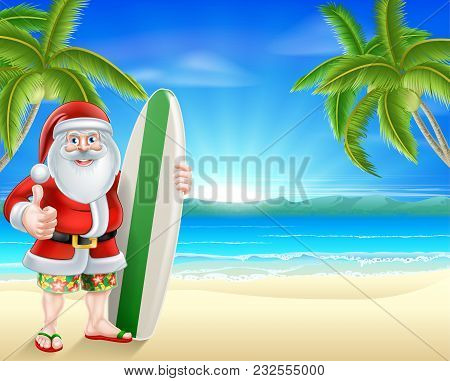 Cartoon Santa Holding A Surfboard And Giving A Thumbs Up In His Board Shorts And Sandals On A Beach