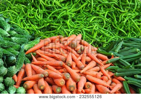 Fresh vegetables up for sale in an Indian market