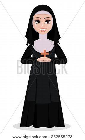 Nun Cartoon Character. Smiling Catholic Sister Holds Wooden Cross. Vector Illustration On White Back