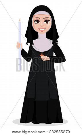 Nun Cartoon Character. Smiling Catholic Sister Holds Burning Candle. Vector Illustration On White Ba
