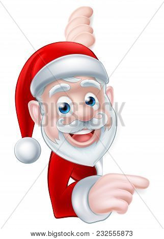 Cartoon Christmas Santa Peeking Around And Pointing At A Scroll, Banner Or Sign