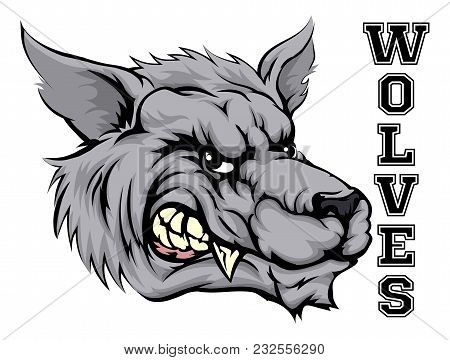 An Illustration Of A Wolf Sports Mascot Head With The Word Wolves