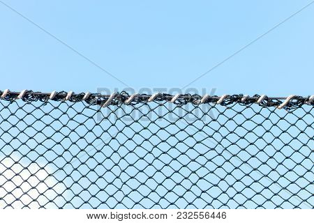 Safety Net Against Blue Sky In Sport Field For Protection