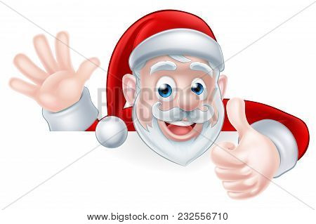 An Illustration Of A Cartoon Santa Claus Waving And Giving A Thumbs Up While Peeking Over A Sign