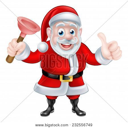 Christmas Cartoon Santa Claus Holding Rubber Plunger And Giving A Thumbs Up