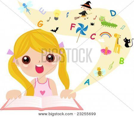 cute little girl reading book