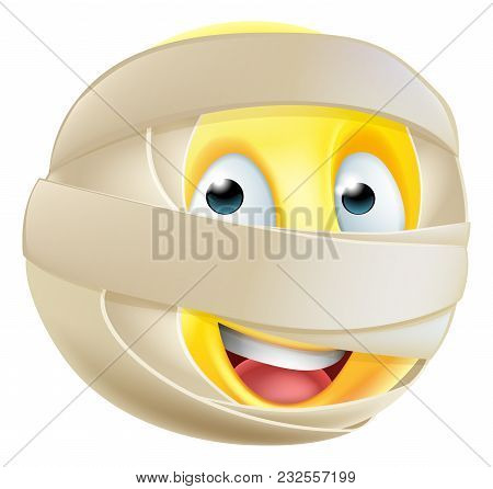 A Halloween Mummy Emoticon Emoji Character In Bandages