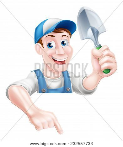 A Cartoon Gardening Mascot Gardener Man Holding A Garden Trowel And Pointing Down At A Sign