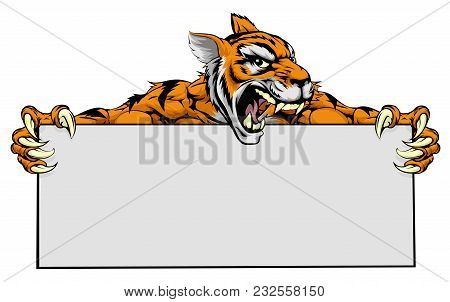 A Cartoon Mean Tiger Sports Mascot Holding A Large Blank Sign With Copyspace