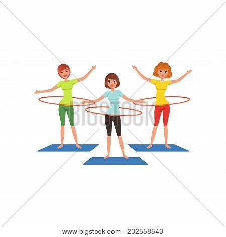 Sporty Young Girls Doing Hula-hoop Workout. Beautiful Women In Sportswear. Cartoon People Characters